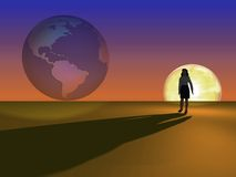 Woman face the world. Business Woman World and sunrise Stock Images