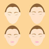 Woman face wrinkle problems on orange background Royalty Free Stock Photos