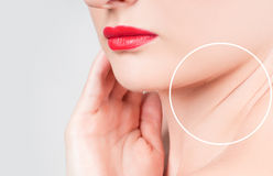 Woman face and wrinkles on neck. Concept of skin rejuvenation. Woman face and wrinkles on neck stock photography