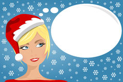 Woman Face Xmas Thinking Daydreaming Stock Image