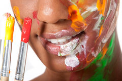 Woman in facepaint Stock Images