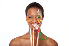 Woman in facepaint Royalty Free Stock Image