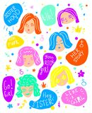 Woman faces and feministic quotes. Female art. Girl power concept card, poster, stickers stock illustration