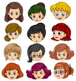 Woman faces. Illustration of a set of women faces Stock Photo