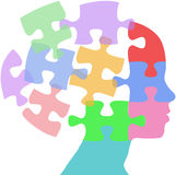 Woman faces mind thought problem puzzle. Head of a woman as mind thought problem jigsaw puzzle pieces Royalty Free Stock Photos