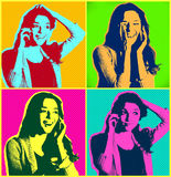 Woman faces with telephone.Popart illustration design over colourful background stock image
