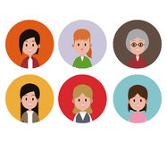 Woman faces variety fashion circle icons. Vector illustration eps 10 Royalty Free Stock Photos