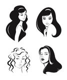 Woman faces vector set. Black and white Stock Images