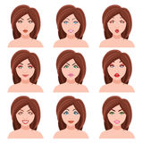 Woman Faces Vector Set Royalty Free Stock Image