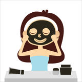 Woman with facial clay mask and vanity, vector Stock Photo