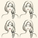 Woman facial emotions set Royalty Free Stock Image