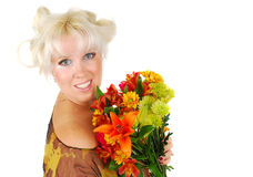 Woman with  facial makeup and autumn flowers. Royalty Free Stock Photos