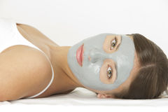 Woman with facial mask. Portrait of woman with facial mask Royalty Free Stock Photography