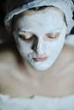Woman with facial mask in cosmetic studio Royalty Free Stock Photos