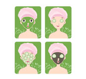 Woman with facial mask and cosmetics Stock Photo