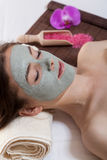 Woman with facial mask at spa salon Royalty Free Stock Images