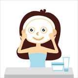 Woman with facial mask and vanity, vector Royalty Free Stock Photos