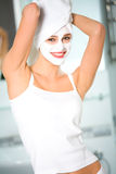 Woman with facial masque Royalty Free Stock Photography