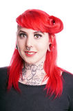 Woman with facial piercings Royalty Free Stock Image
