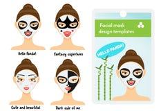 Woman facial sheet masks design templates. Package sample with cute girl with facial panda mask Royalty Free Stock Photography