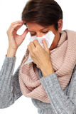 Woman with facial tissue having flu. Woman with facial tissue having rheum. Health care Stock Photo
