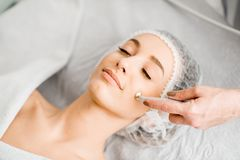 Woman during the facial treatment procedure. Young woman during the facial treatment procedure in the cosmetology office stock photos