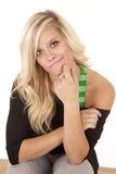 Woman facing black and green expression Royalty Free Stock Photos