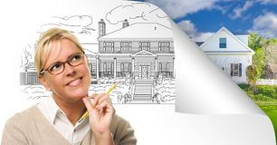 Woman Facing House Drawing Page Corner Flipping with Photo Behind.  stock photos