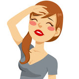 Woman Fainting. Illustration of a beautiful young woman fainting and losing consciousness Stock Images