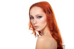 Woman from Fair skin with beauty long curly  red Royalty Free Stock Photos