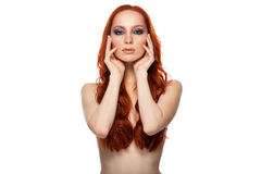 Woman from Fair skin with beauty long curly  red. Hair. Isolated background Stock Images