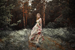 Woman in fairy forest Royalty Free Stock Photo