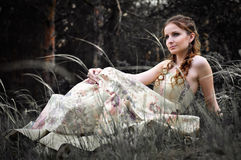 Woman in fairy forest. Portrait of romantic woman in fairy forest Royalty Free Stock Photography