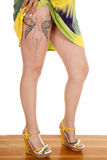 Woman fairy tattoo upper leg heels Stock Photo