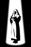 Woman of Faith. A silhouette of a nun reading the bible under light stock illustration