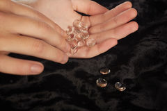 Diamonds in hand stock photos