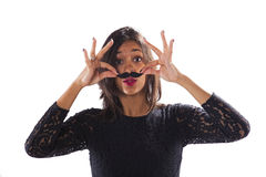 Woman with a fake mustache Royalty Free Stock Image