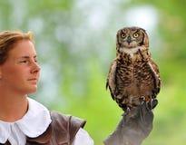 Woman falconer Royalty Free Stock Photo