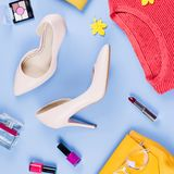 Woman fall clothes and accessories flat lay. Female autumn fashion concept. Woman fall clothes and accessories flat lay. Female autumn fashion royalty free stock photography