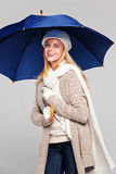 Woman in fall fashion with umbrella Stock Photography