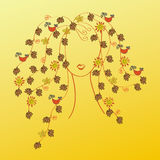 Woman with fall hair Stock Image