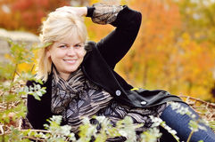 Woman in fall Royalty Free Stock Images