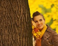 Woman with fallen leaves leaning against  tree Royalty Free Stock Photography