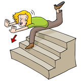 Woman Falling Down Stairs Royalty Free Stock Photos