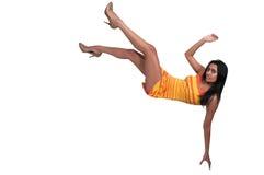 Woman Falling Through the Sky Stock Photo