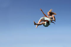 Woman Falling Through the Sky Royalty Free Stock Images
