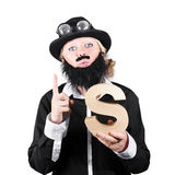 Woman With False Beard And Mustache Holding Alphabet S Stock Images