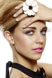 Woman with false eyelashes and pink lipstick Stock Image