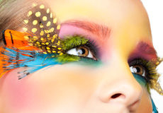 Woman with false feather eyelashes makeup Royalty Free Stock Image
