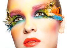 Woman with false feather eyelashes makeup. Young pretty woman face with false feather eyelashes fashion makeup Royalty Free Stock Photography